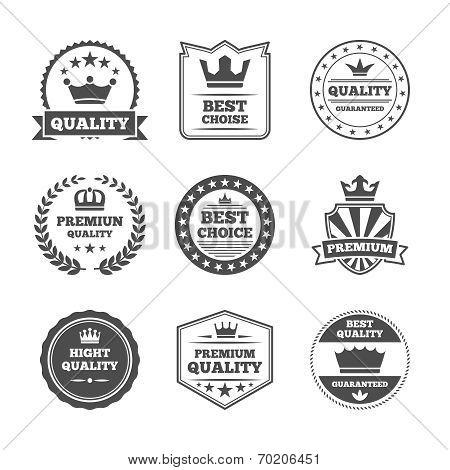 Crown labels icon set