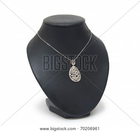 Beautiful Silver Necklace On Mannequin Isolated On White