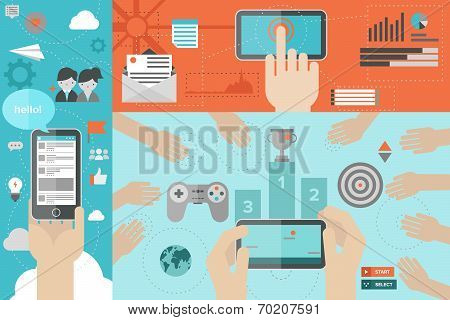 Mobile Communication And Gaming Flat Illustration