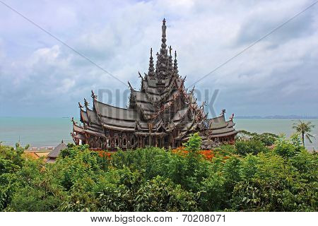 Sanctuary Of Truth Temple (also Called Wang Boran And Prasat Mai). Pattaya, Thailand