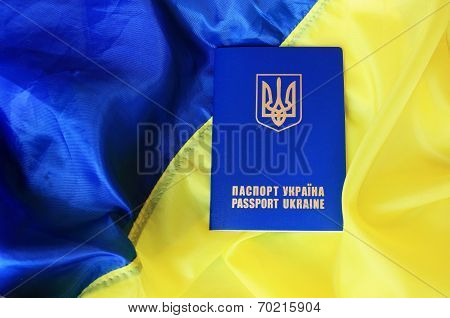 flag and passport of Ukraine