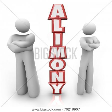 Alimony word in red 3d letters between a divorced couple ex husband and wife in dispute over spousal support amount of money to be paid