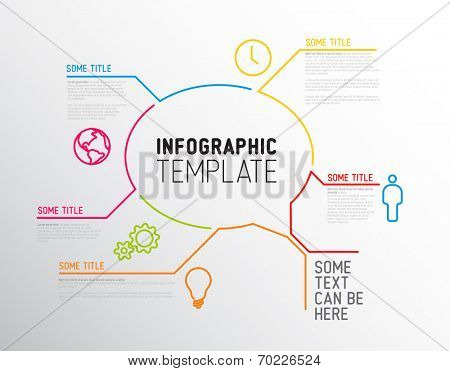 Vector Infographic report template made from lines and icons (big speach bubble)