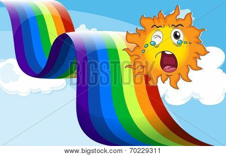 Illustration of a crying sun near the rainbow poster