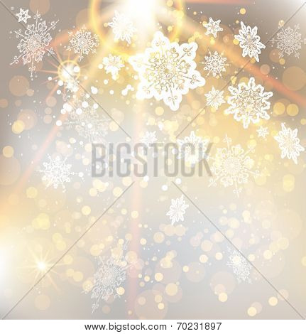Festive Christmas background with beautiful golden light. Abstract illustration with snowflakes. Raster version.