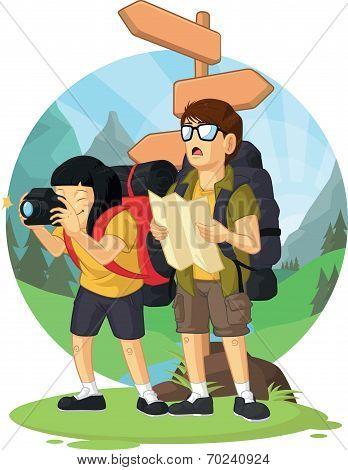 Cartoon of Backpacker Boy & Girl Enjoying Vacation