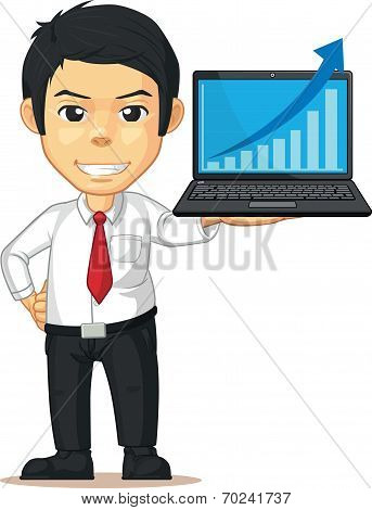 Man With Increasing Graph Or Chart On Laptop