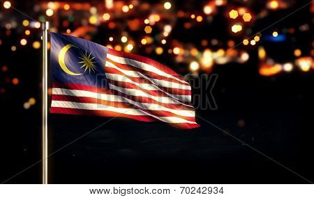 Malaysia National Flag City Light Night Bokeh Background 3D poster