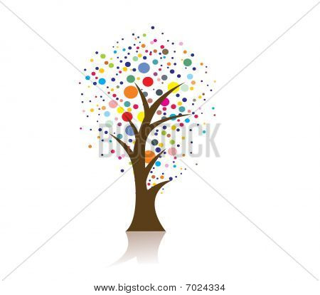 hand draw vector tree on eco background, vector illustration poster
