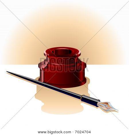 Elegant Ink Bottle And Pen