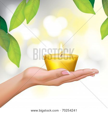Woman Hand Holding Candle