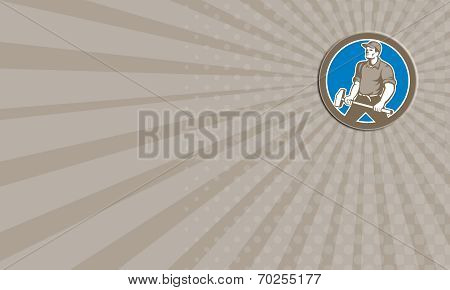 Business Card Union Worker With Sledgehammer Circle Retro