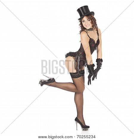 one sexy burlesque dancer woman stripper showgirl in studio isolated on white background poster