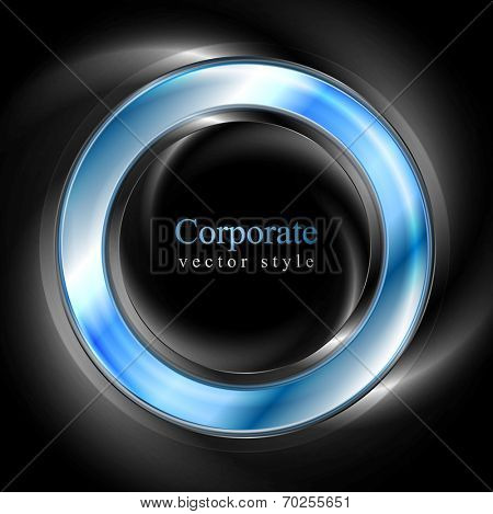 Bright glow blue web circle element. Logo vector background