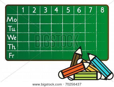 School Timetable In Greenboard (blackboard) Style