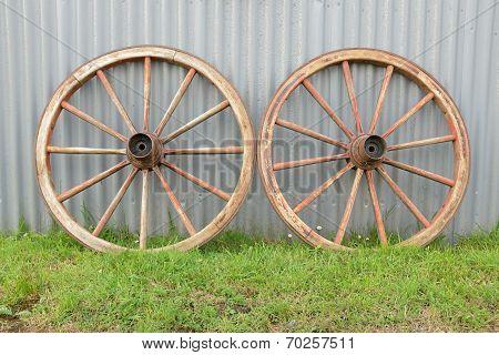 Antique Cart Wheels.