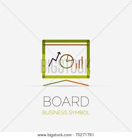 Vector presentation board company logo design, business symbol concept, minimal line style poster