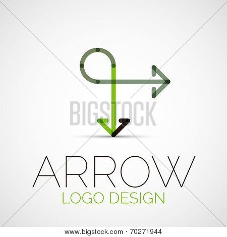 Vector arrow company logo, abstract business symbol - concept direction, modern line design poster