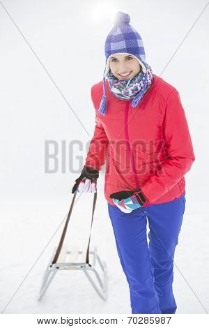 Beautiful young woman pulling sled poster