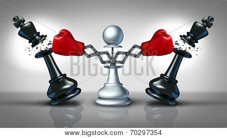 New competition business concept with a chess pawn punching and destroying competitors as two king pieces with hidden red boxing gloves as a metaphor for innovative corporate attack strategy and planning to win. poster