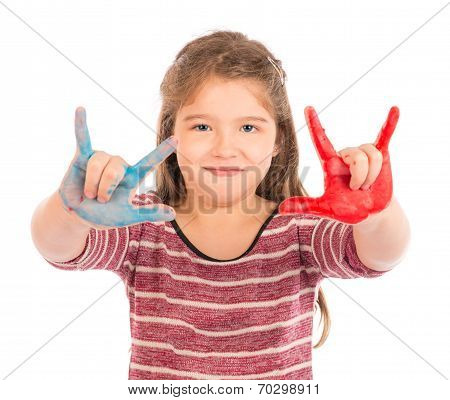 Little Girl Playing With Paint Doing The Horns.