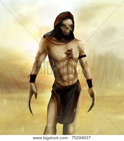 Fantasy arab desert warrior with skull mask and claws standing in desert background poster