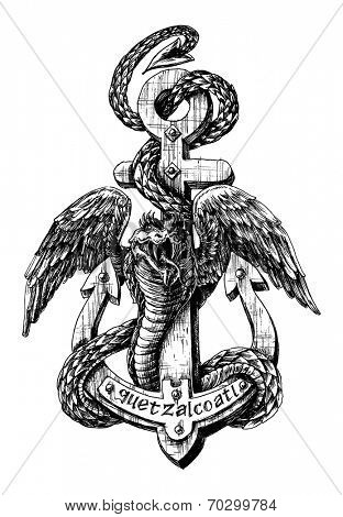 Quetzalcoatl, the feathered serpent icon