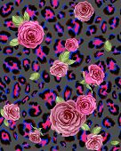 Leopard skin and rose seamless pattern. Repeating  background. Raster version poster