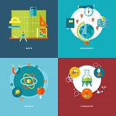 Set of flat design concepts of school subjects icons for mobile apps and web design. Icons for math, geography, physics and chemistry. poster