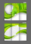 Green tri-fold brochure ecology nature design with leaves poster