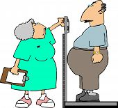 This illustration depicts a nurse measuring the weight of a fat patient. poster
