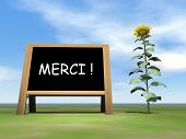 Blackboard saying thank you in french upon grass with sunflower by beautiful day - 3D render poster