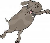 This illustration depicts a pouncing dog. poster