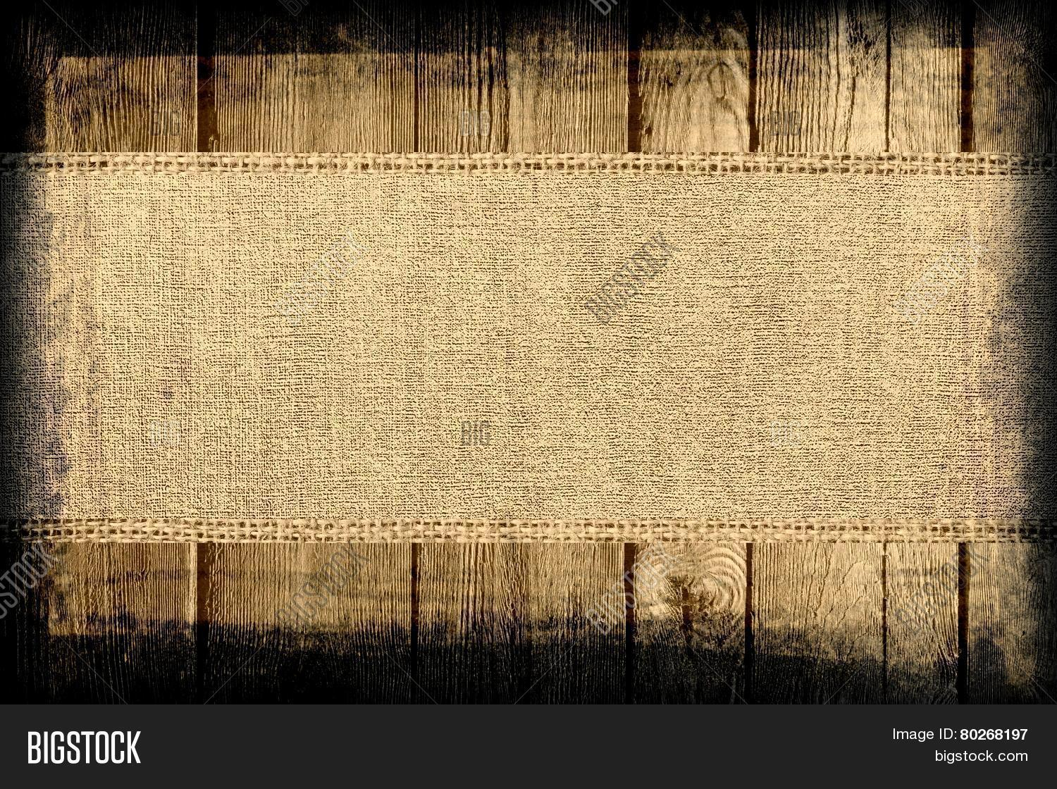 Old Grunge Rustic Canvas Banner Textured With Dark Wood Background