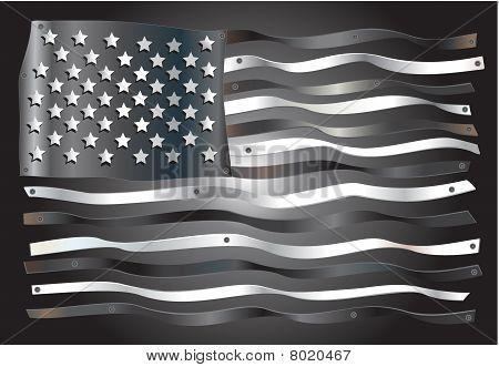 American flag digitally fabricated in tin