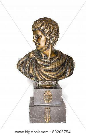 Bust Of Roman Emperor Nero Clavdius Caesar Avgustus Germanicus On A White Background