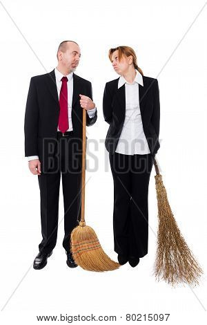 Group Of Business People With Brooms