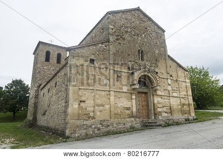 Montefeltro (Marches Italy): exterior of the medieval church of Ponte Messa poster