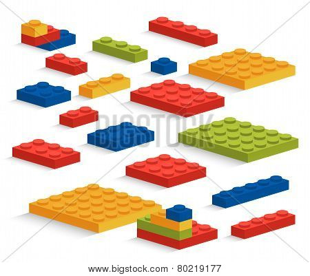 Set Of Plastic Lego Pieces Or Constructor