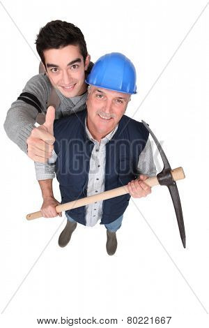 Tradesmen giving the thumb's up
