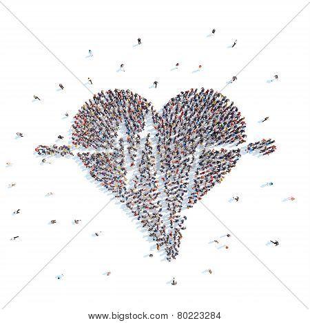 People in a heart shape, cardio.