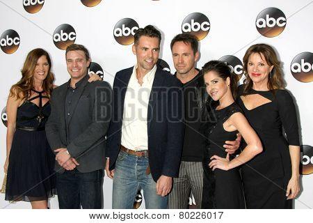 LOS ANGELES - JAN 14:  M Stafford, Billy Miller, J Thompson, William deVry, K Monaco, Nancy Lee Grahn at the ABC TCA Winter 2015 at a The Langham Huntington Hotel on January 14, 2015 in Pasadena, CA