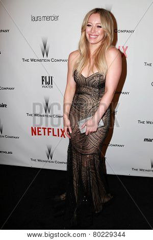 LOS ANGELES - JAN 11:  Hilary Duff at the The Weinstein Company / Netflix Golden Globes After Party at a Beverly Hilton Adjacent on January 11, 2015 in Beverly Hills, CA