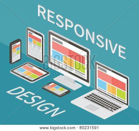 Responsive web design, 3d isometric flat vector.