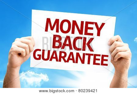 Money Back Guarantee card with a beautiful day