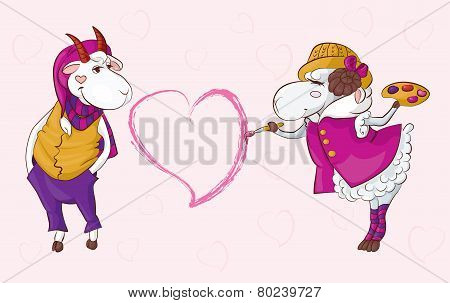 Goat Sheep Valentine