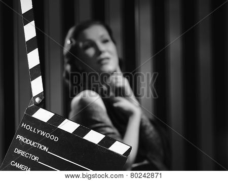 Hollywood Woman And Clapboard