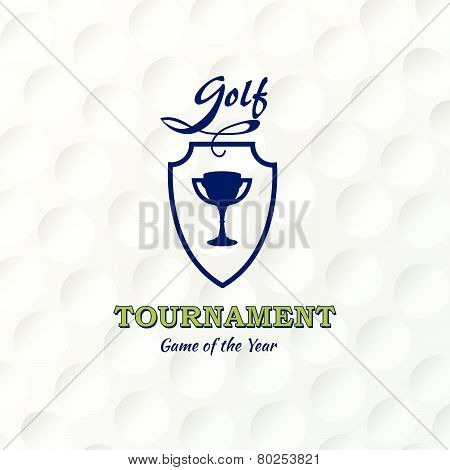 Golf. Emblems For Golf With The Cup. Retro Label Design. Postcard. Realistic Rendition Of Golf Ball