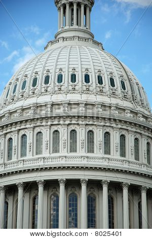 Outdoor closeup view of US Capitol in Washington DC
