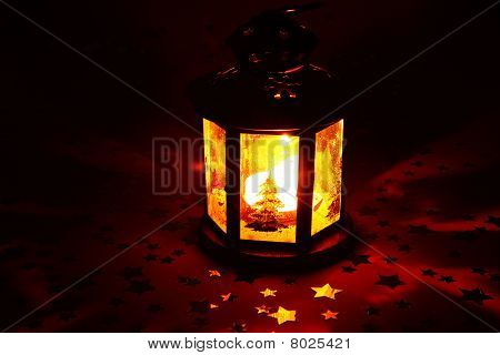 Christmas Lantern Glowing In Dark